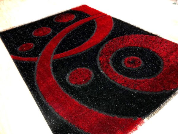 килим шаги екстра 1669 черно червен